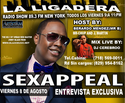 Sexappeal esta noche en entrevista exclusiva en la ligadera New York